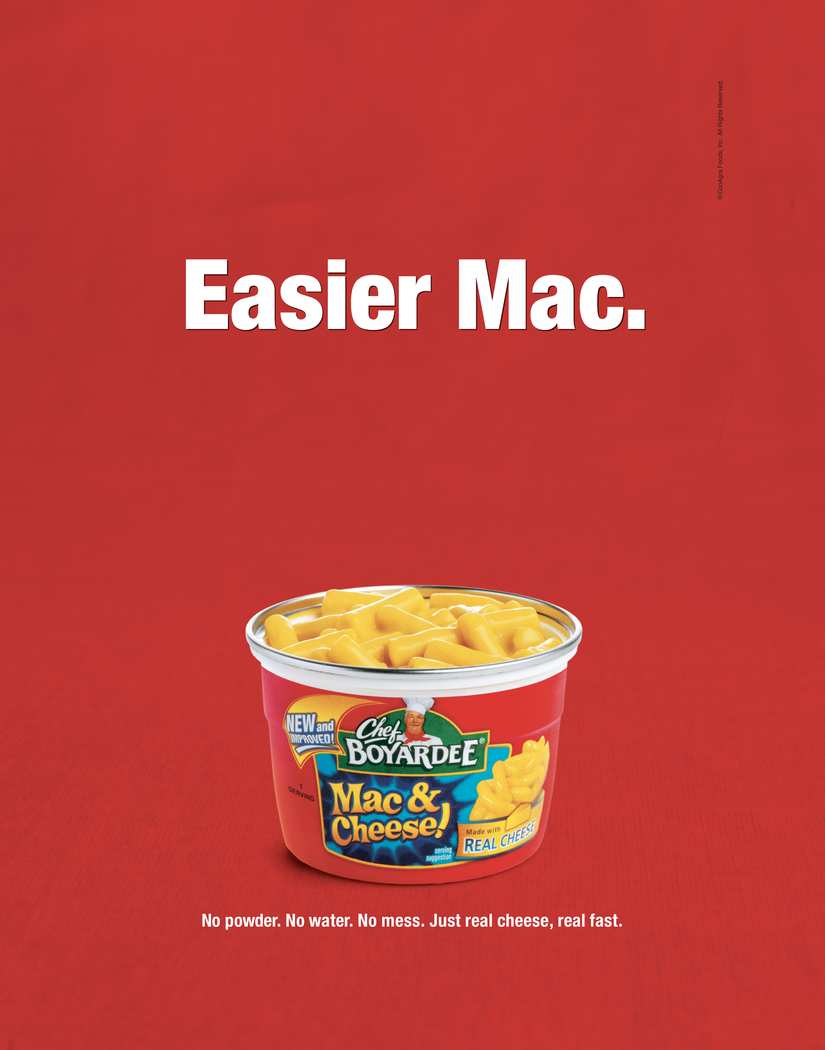 Robyn Valarik San Francisco Food & Drink Stylist - Chef-Boyardee, mac & cheese, microwavable, individual, portion, cheesy, advertising, photography, red