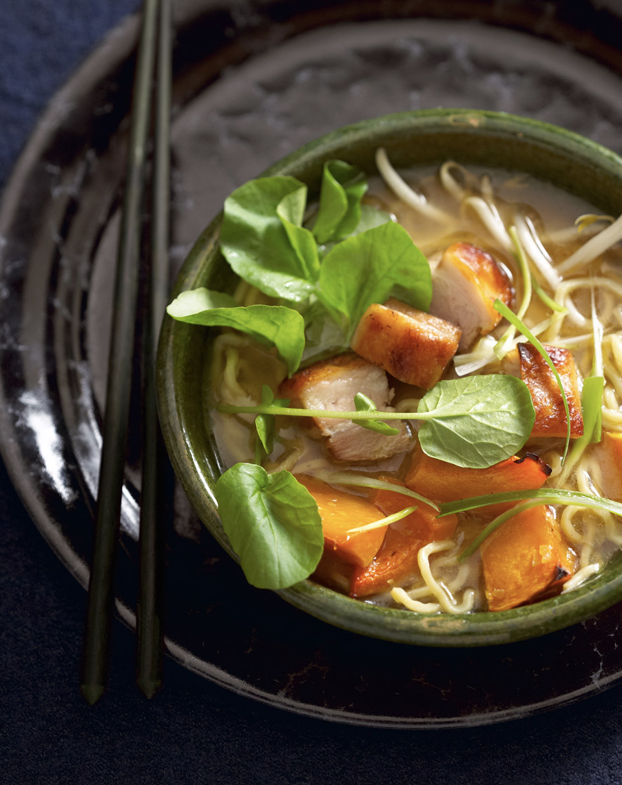 Robyn Valarik San Francisco Based Food & Drink Stylist - Ramen, noodles, hot, watercress, cress, vegetables, recipe, easy, homemade, herbs, broth, bowl, healthy, recipe, ingredients, tabletop, food-phtotography
