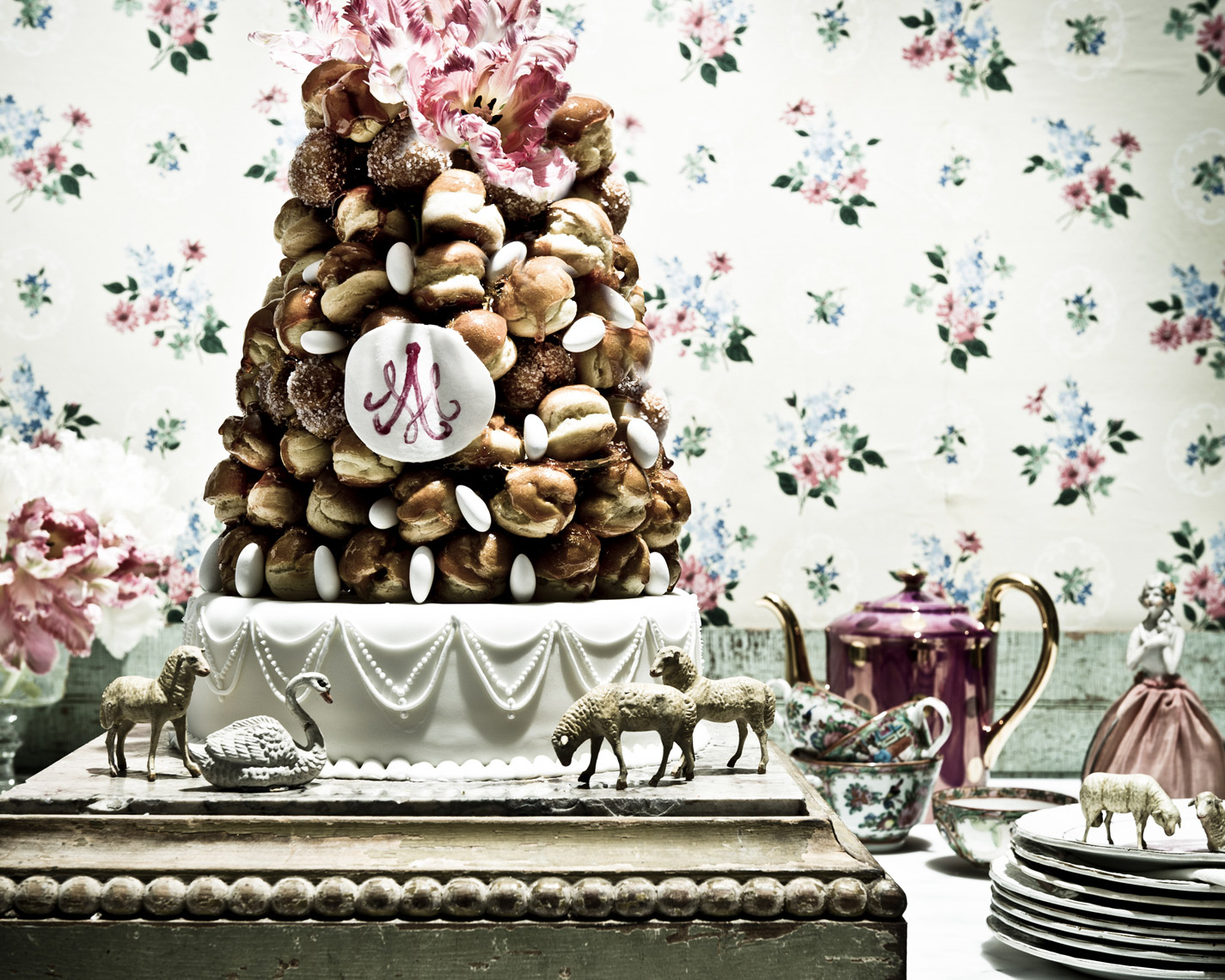 Robyn Valarik San Francisco  Food & Drink Stylist - French, antique, croquembouche, pastry-shop, Marie-Antionette, porcelain, figurines, sugar, choux, caramel, celebration, party, food-photography