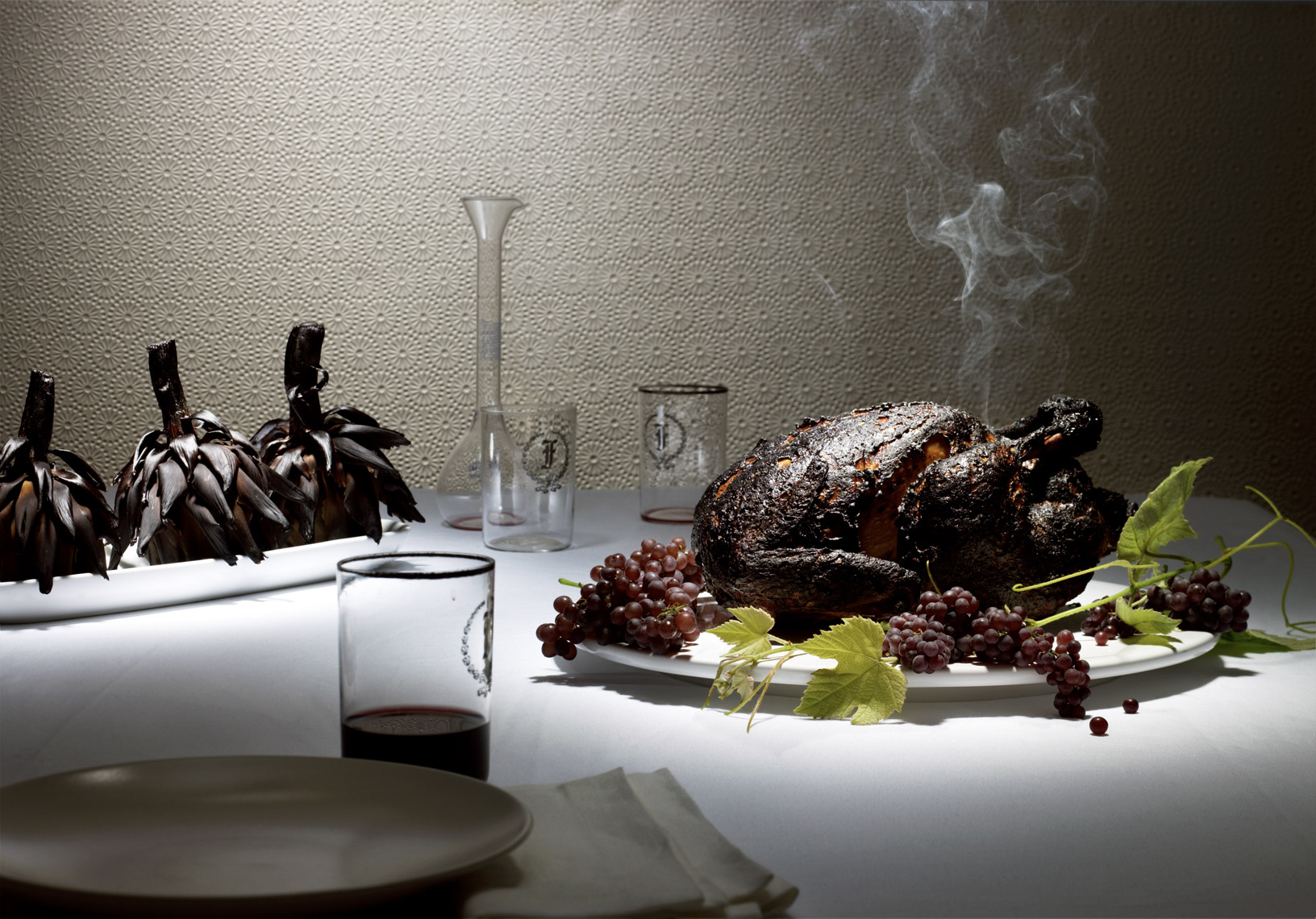 Robyn Valarik San Francisco Based Food & Drink Stylist - Burnt, turkey, platter, smoke, charred, black, garnish, thanksgiving, white, conceptual, art, poultry, food-photography