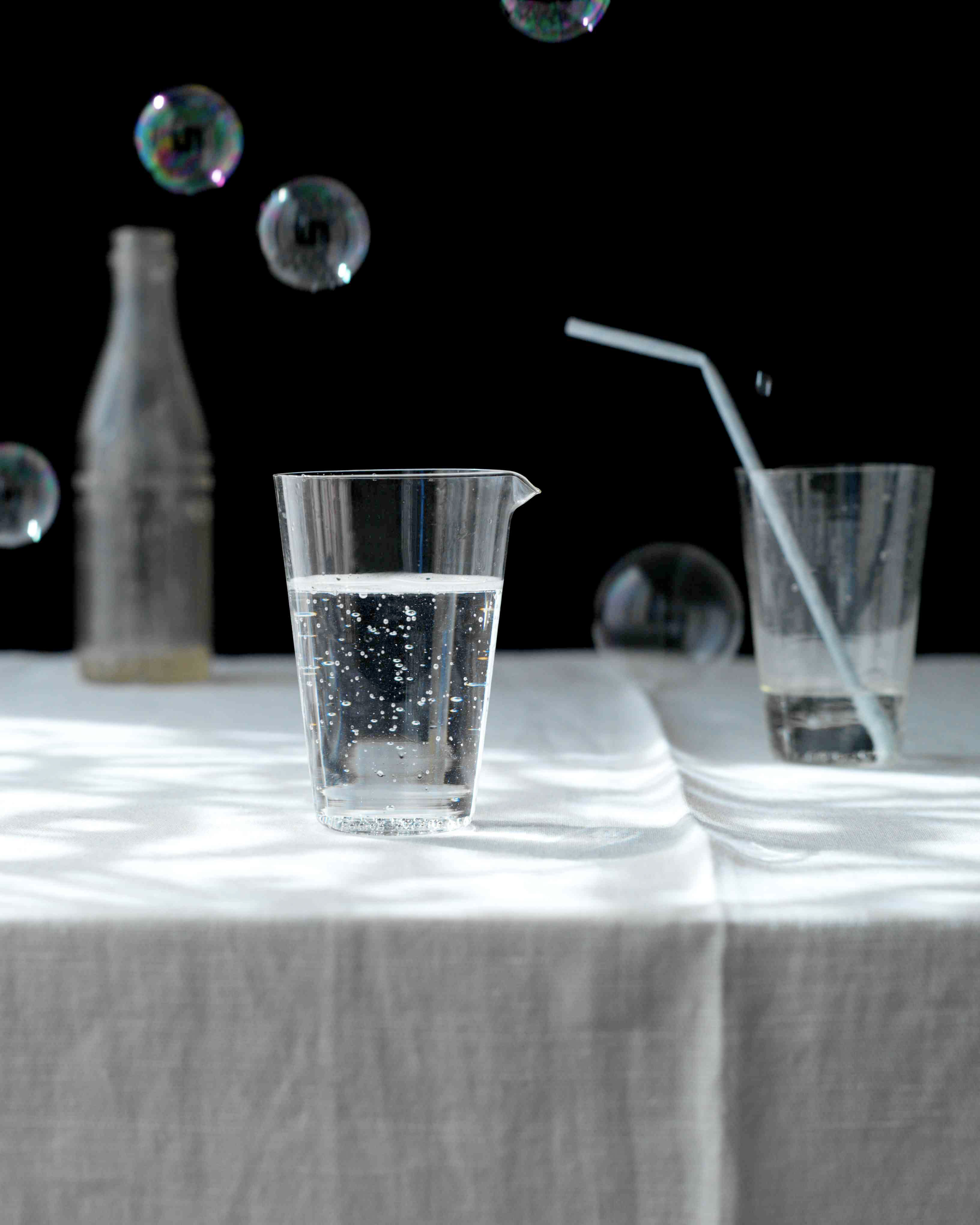 Robyn Valarik San Francisco Based Food & Drink Stylist - water, glasses, drinking, bubbles, black, still-life,  liquid, food-photography