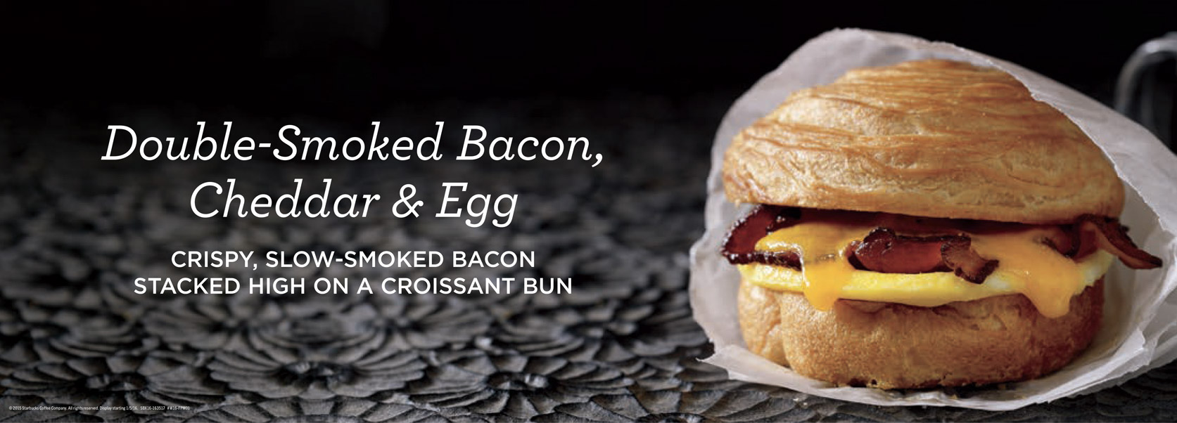 Robyn Valarik San Francisco Based Food & Drink Stylist - Starbucks, breakfast sandwich, egg, bacon, cheese, croissant, flaky, melty