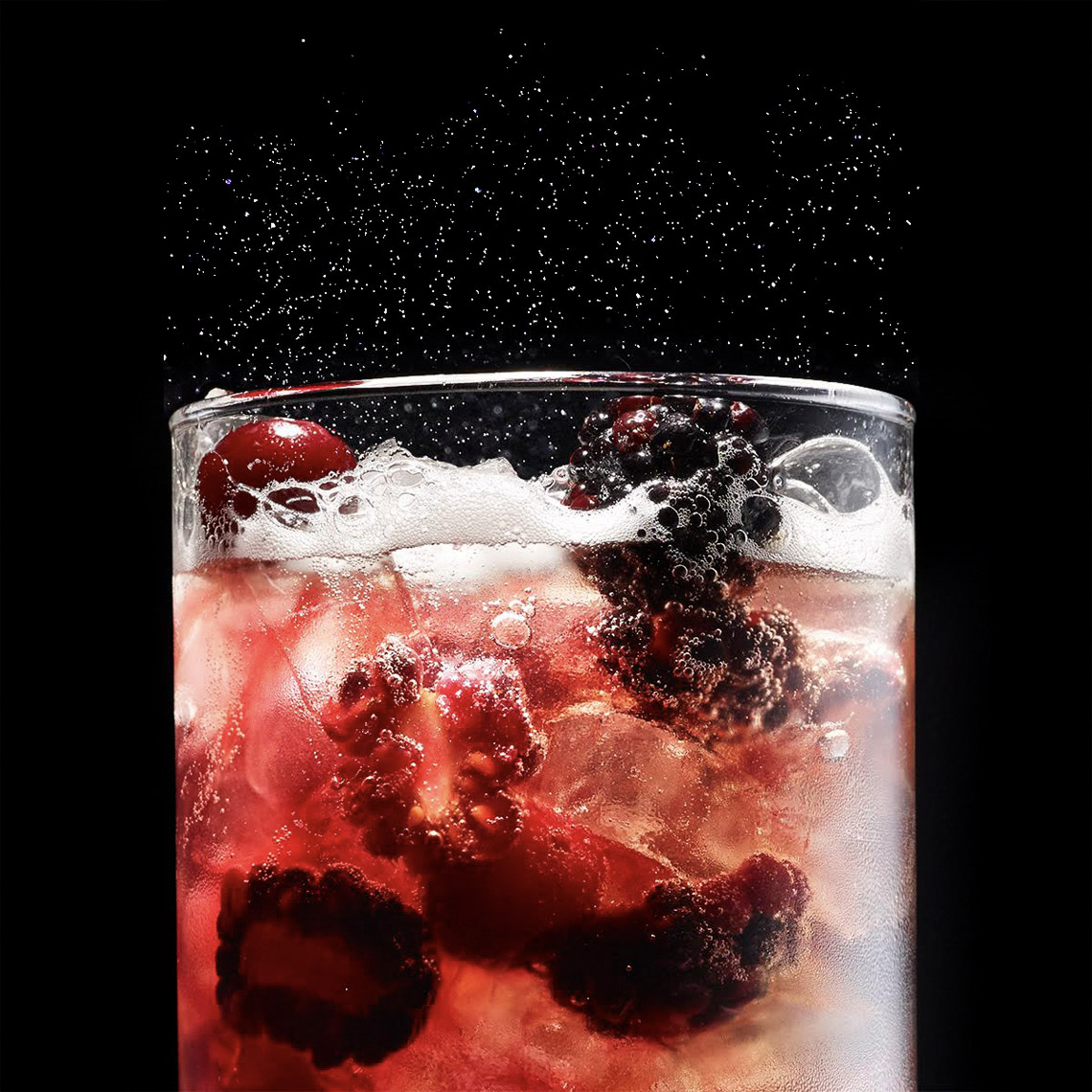 Robyn Valarik San Francisco Based Food & Drink Stylist - beverage, drink, soda, fizz, carbonated, carbonation, berries, red, garnish, refreshing, sweat, condensation, ice, food-photography
