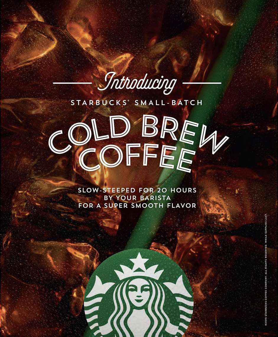 Robyn Valarik San Francisco Food & Drink Stylist - Starbucks, cold-brew, straw, ice, cubes, sweaty, drips, refreshing, advertising, drink, liquid, brown, photograaphy
