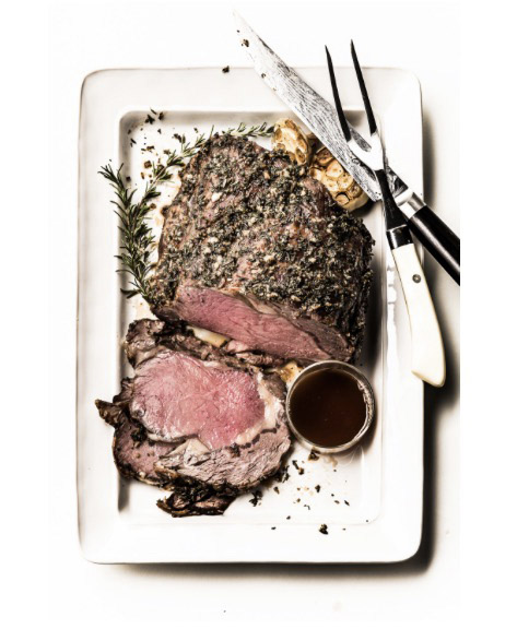 Robyn Valarik San Francisco Based Food & Drink Stylist - beef, roast, rare, medium, crust, red, pink, carved, platter, rosemary, herbs, salt, pepper, recipe, ingredients, simple, holiday, entertaining, carving, fork, knife, juicy, grass-fed, organic, grass-finished, food-photography