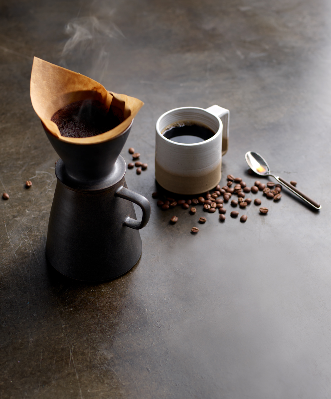 Robyn Valarik San Francisco Food & Drink Stylist - coffee, caffeine, hot, pour-over, beans, hot, steam, mug, filter, still-life, food-photography