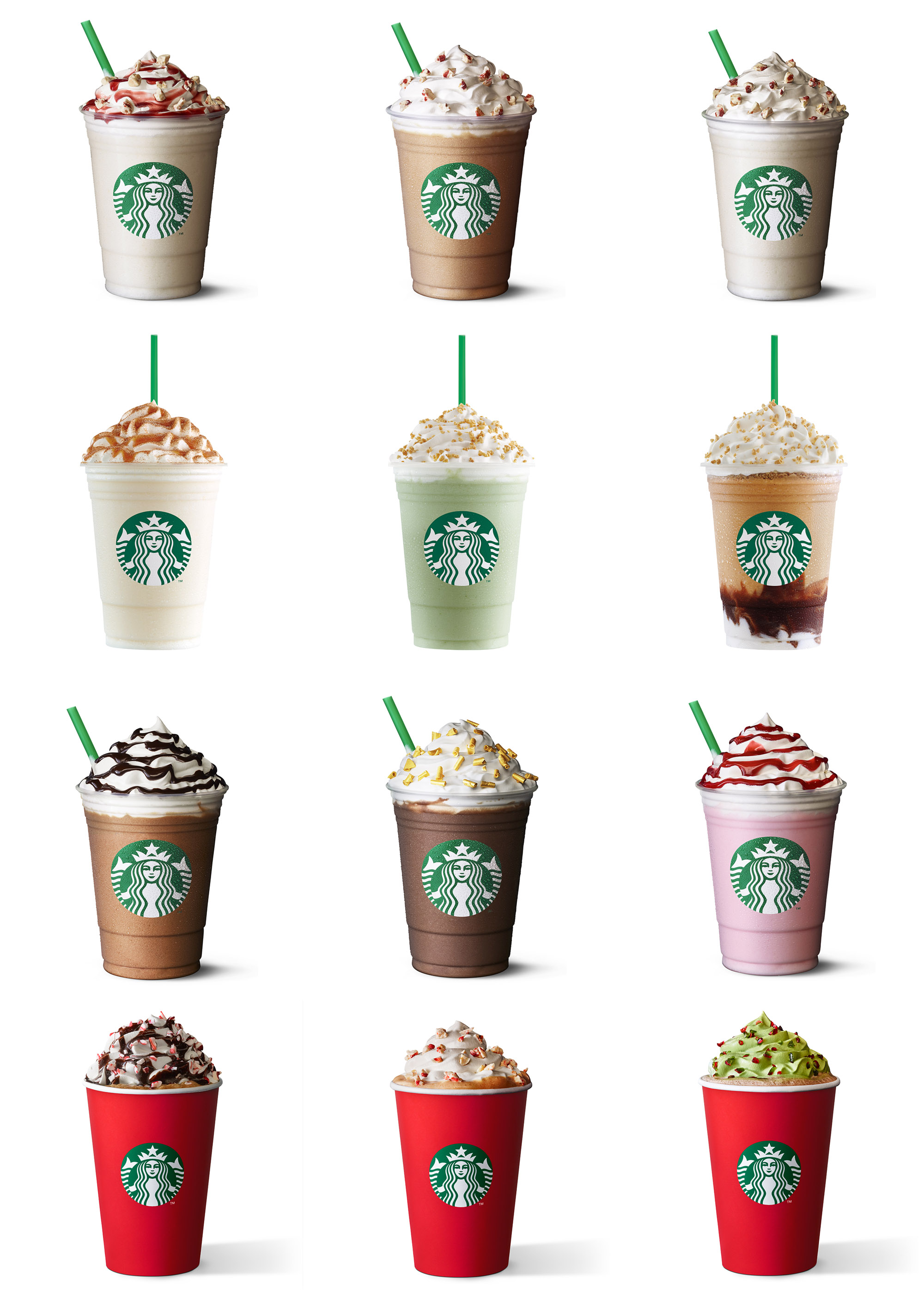 Robyn Valarik San Francisco Food & Drink Stylist - Starbuck, fraps, frapps, frappuccino, straws, cups, logo, siren, whip, whipped-cream, flavors, strawberry, mocha, caramel, chocolate, drinks, cold, blended, frozen, creamy, food-photography